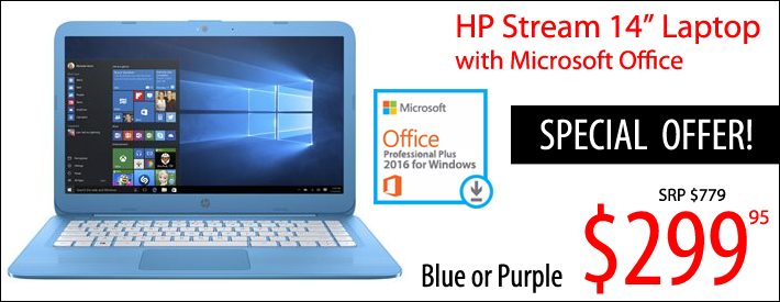 """HP 14"""" Laptop with Microsoft Office $299"""