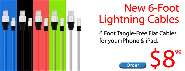 6 Foot Lightning Cables for iPhone/iPad