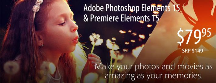 Adobe Photoshop/Premiere Elements 15 $79