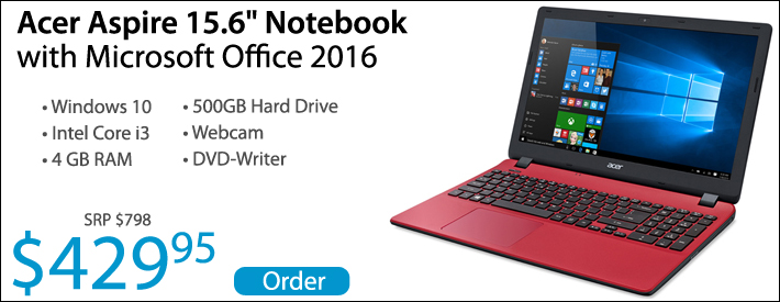 """Acer Aspire 15.6"""" Laptop with Microsoft Office - $429"""