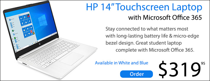 """HP 14"""" Touchscreen Laptop with Microsoft Office 365"""
